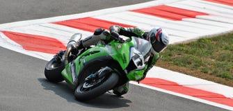 超级摩托车队赛跑霍安Lascorz的川崎 库存照片