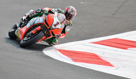 超级摩托车队Aprilia赛跑Max比亚吉的意大利航空 免版税库存照片