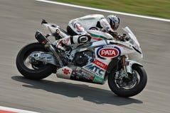 超级摩托车队Pata赛跑的Aprilia Noriyuki Haga 库存图片
