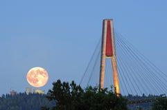 超级月亮上升和skytrain桥梁在蓝色小时 免版税库存图片