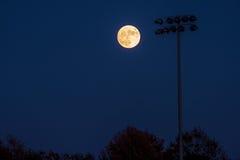 超级月亮和领域 免版税库存照片