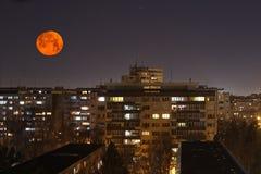 超级月亮在罗马尼亚 库存照片