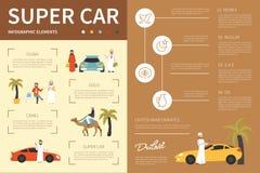 超级汽车infographic平的传染媒介例证 3d背景概念例证查出的介绍回报了白色 图库摄影