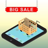 超级流动和网上商店概念的销售infographic设计 数字式营销,商店,电子商务购物 向量例证