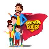 超级爸爸传染媒介 父亲s天 盾徽章 被隔绝的平的动画片Illudtration 向量例证