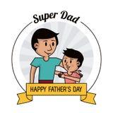 超级爸爸 愉快的拥抱图象的父亲节卡片、爸爸和儿子 皇族释放例证