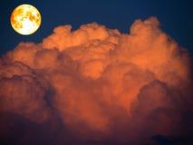 超级纯种月亮和红色云彩在黑暗的天空 库存图片