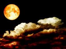 超级纯种月亮堆红色云彩夜空 库存照片