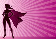 超级背景的女英雄 免版税图库摄影