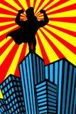 超级英雄人干涉剪影摩天大楼 库存例证