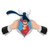 超级英雄人白色衬衣背景传染媒介 库存图片