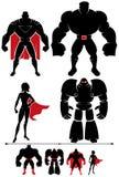 超级英雄剪影 库存例证