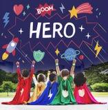 超级英雄哄骗想象力力量帮手概念 库存图片