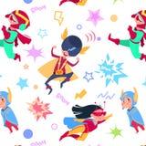 超级英雄哄骗无缝的样式 动画片超级英雄孩子 飞行英雄超级男孩和女孩导航不尽的纹理 库存例证