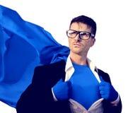 超级英雄商人专业成功白领工人 库存图片