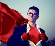超级英雄商人变换的概念 免版税库存图片