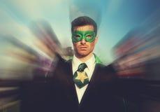 超级英雄商人自豪感队抢救概念 库存图片