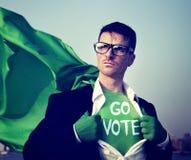 超级英雄商人表决力量概念 免版税图库摄影