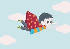 超级英雄在天空的男孩飞行 免版税库存图片