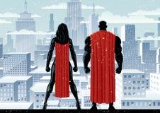 超级英雄夫妇手表冬天 向量例证