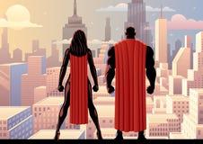 超级英雄夫妇手表天 向量例证