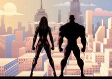 超级英雄夫妇手表天2 皇族释放例证