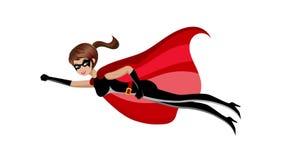 超级英雄妇女飞行动画 库存例证