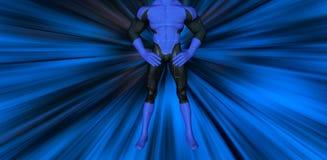 超级英雄姿势起电的蓝色背景例证 免版税库存照片