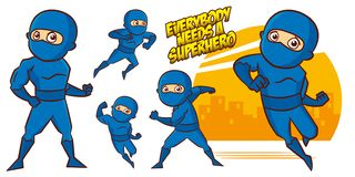 超级英雄字符超级英雄被设置的传染媒介例证设计 免版税库存图片