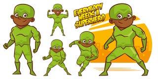 超级英雄字符超级英雄被设置的传染媒介例证设计 图库摄影