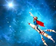 超级英雄服装卫兵的男孩行星 免版税图库摄影