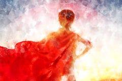 超级英雄服装的女孩 例证 免版税库存照片
