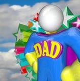 超级英雄爸爸特级英雄父亲服装 免版税库存照片