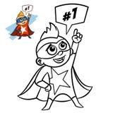 超级英雄男孩彩图 在白色背景隔绝的喜剧人物 免版税库存图片