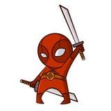 超级英雄红色Ninja贴纸 库存照片