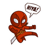 超级英雄红色Ninja贴纸 免版税库存图片