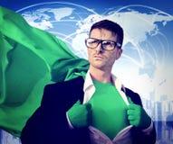 超级英雄绿色环境保护生态概念 免版税库存照片