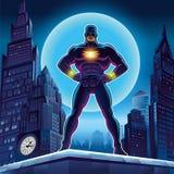 超级英雄 在背景的传染媒介例证 图库摄影