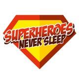 超级英雄从未睡觉贴纸 库存图片