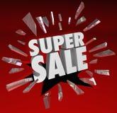 超级销售措辞破碎玻璃大清除抛售储款Ev 免版税库存照片