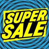 超级销售标志 可笑,动画片样式 库存图片