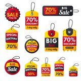 超级销售额外奖金红色横幅发短信给标签 皇族释放例证