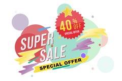 超级销售40%折扣海报和飞行物 设计海报、飞行物和横幅的模板在颜色背景 平的il 库存照片
