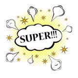 超级!可笑的讲话泡影,动画片 免版税库存照片