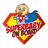 超级婴孩在船上超级英雄商标 图库摄影