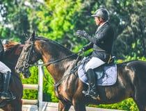 超越障碍马术比赛竞争、海湾马和车手在黑一致执行跳过辔 免版税库存图片