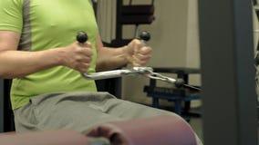 超重人份额降低热衷,背部锻炼,在健身房 ?? r 股票视频