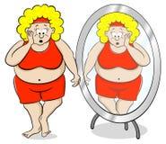 超重妇女在镜子前面被冲击 向量例证