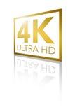 超4K HD透视发光的金黄商标 免版税库存图片