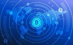 超HD摘要Bitcoin隐藏货币Blockchain技术世界地图背景例证 免版税库存照片